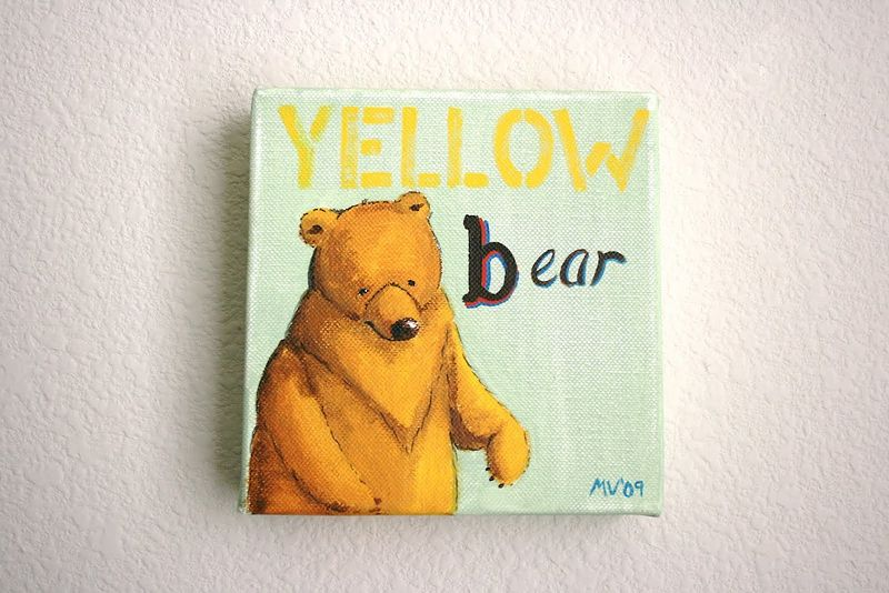 """Yellow Bear"" 6x6x1 1/2"" Acrylic on Canvas"