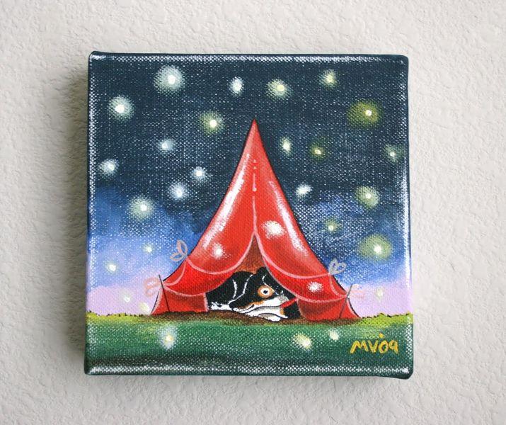 """Little Camper"" 6x6x1 1/2"" Acrylic on canvas"