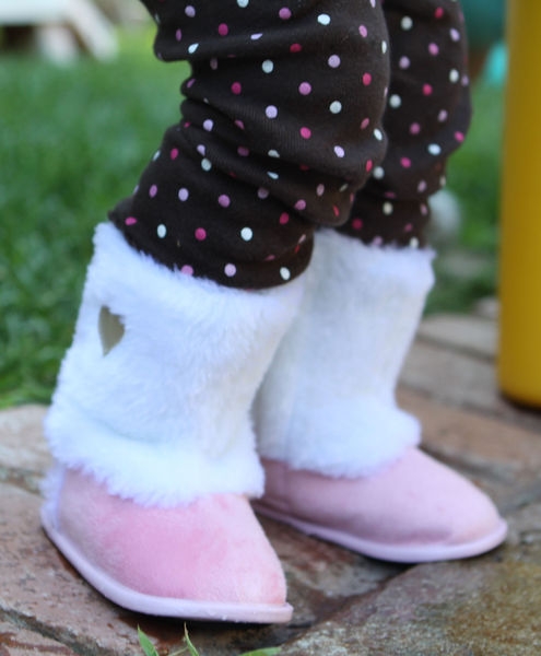 White and Pink Fur booties