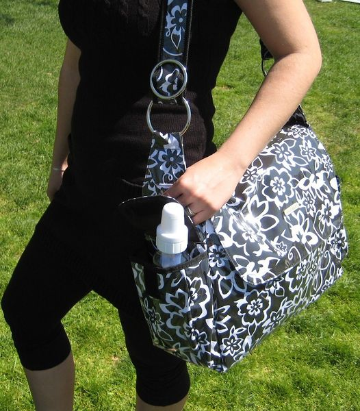 Bibi & Mimi Flowers Blk/Wht Diaper Bag