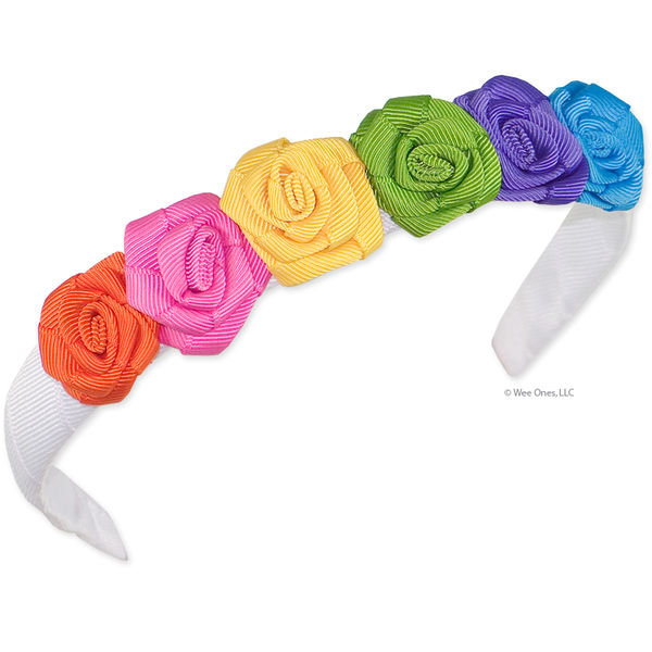 Six bright grosgrain rolled roses on a grosgrain wrapped headband.