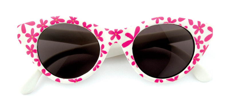 Lucy Sunglasses in pink with flowers, white with pink flowers and solid pink For 0-24 months. 100% UV protection