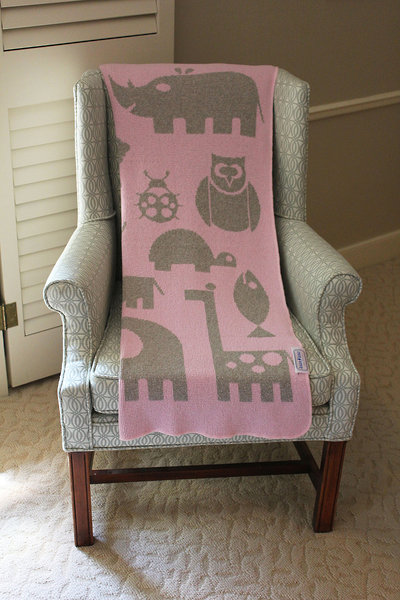 Eco Baby Blanket - Animals Pink & Grey