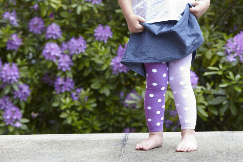 Two-tone Spots, Purple Organic Footless Tights