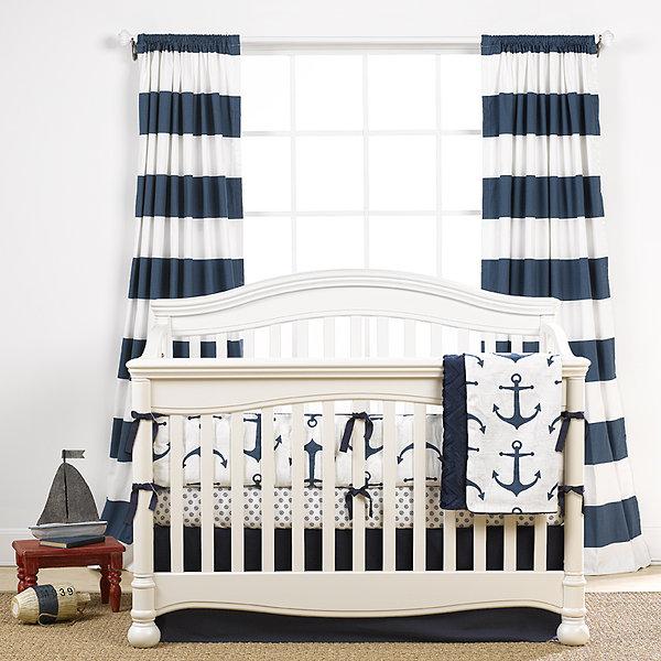 Navy Anchors (Nautical) Crib Bedding