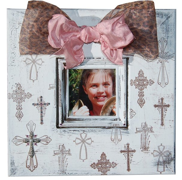 Crosses -12x12 white distressed frame with 4x4 opening, several crosses, crystals. Available in Blue crystals and ribbon