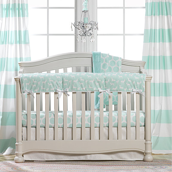Mint Woodland Crib Bedding