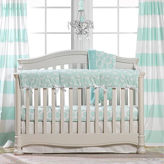 Mint Woodland Crib Bedding