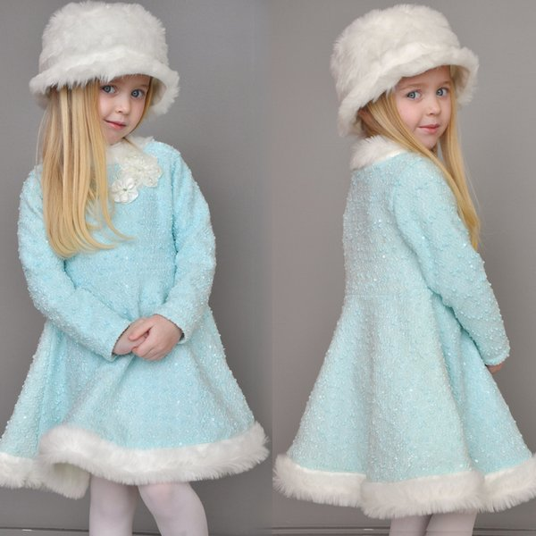 Frozen Fairy Princess Aqua Ice Fall 2015 Skate dress with twirly skirt and fur trim.