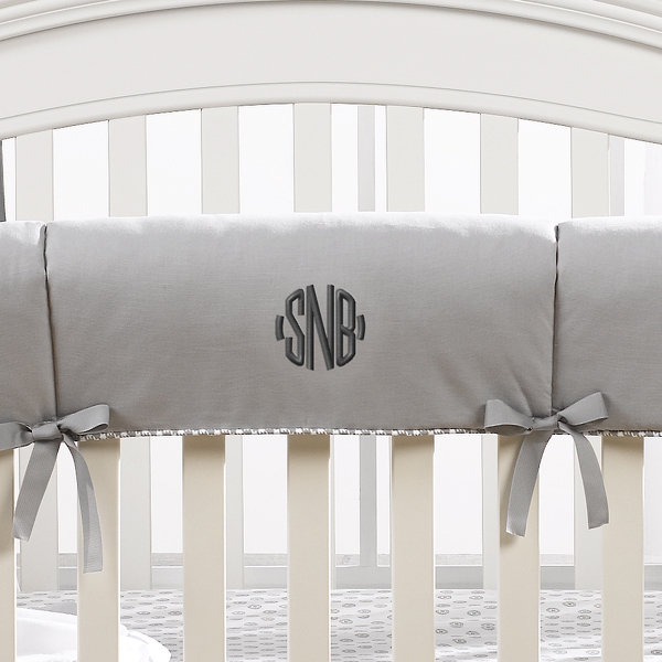 Monogram Basics: Gray Monogrammed Crib Rail