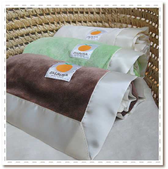 Silky Satsuma Blankie - soft and cozy bamboo velour and silky breathable bamboo jersey trimmed in silky satin - yum!