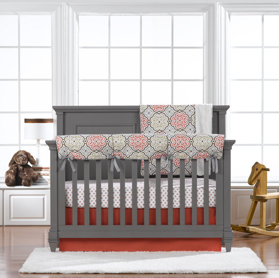 Garden Gate Crib Bedding in Coral and Gray by Liz and Roo