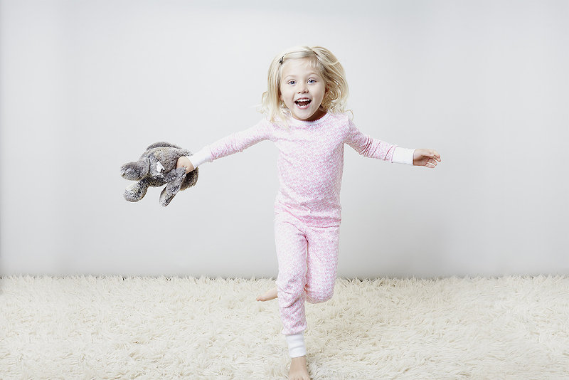 "Jump for joy in "" Pink Wildflowers"" pima pajamas."