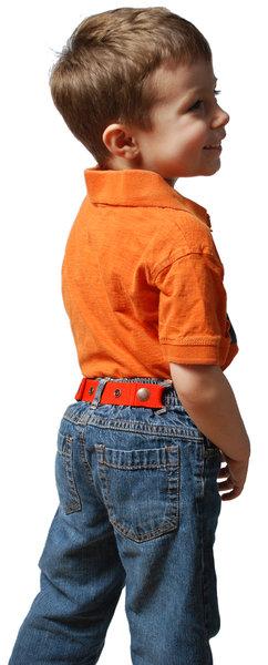 "Michelle Cazella's son ""Super Dude"" poses for Dapper Snappers Kids Belts photo"