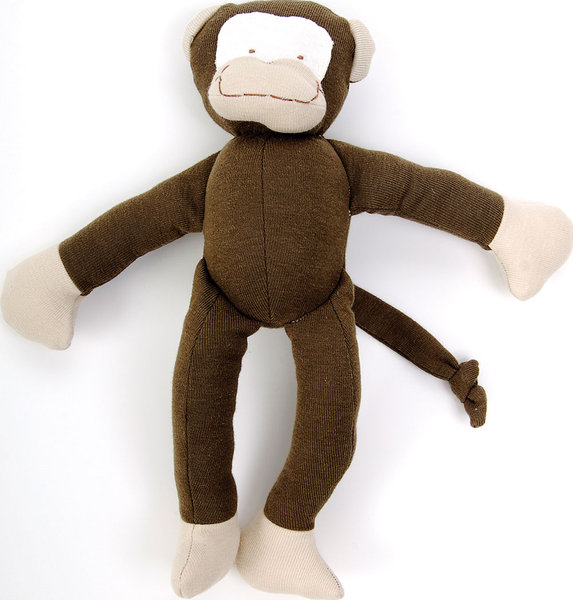 Kids will have lots of jungle fun with this soft monkey. Stuffed with organic cotton so there is no fluff to inhale.