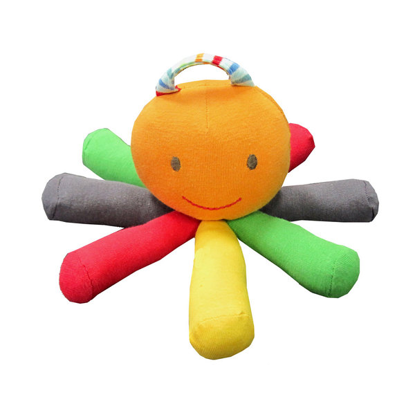 Scraptopus is made with all the soft leftover scraps from our toy collection. It's colorful, easy to hold and safe to chew on.