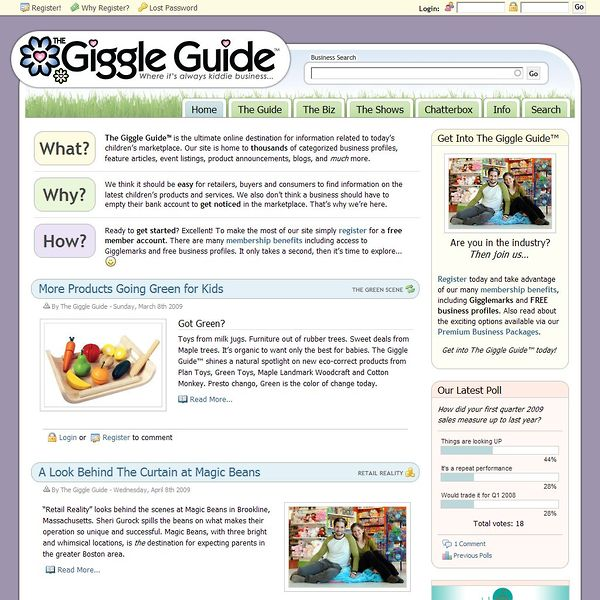 Screenshot of TheGiggleGuide.com