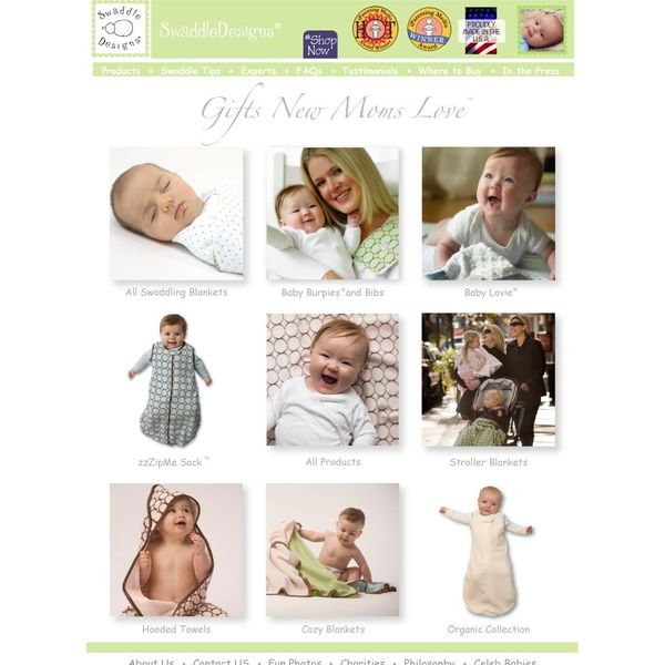 Screenshot of www.swaddledesigns.com