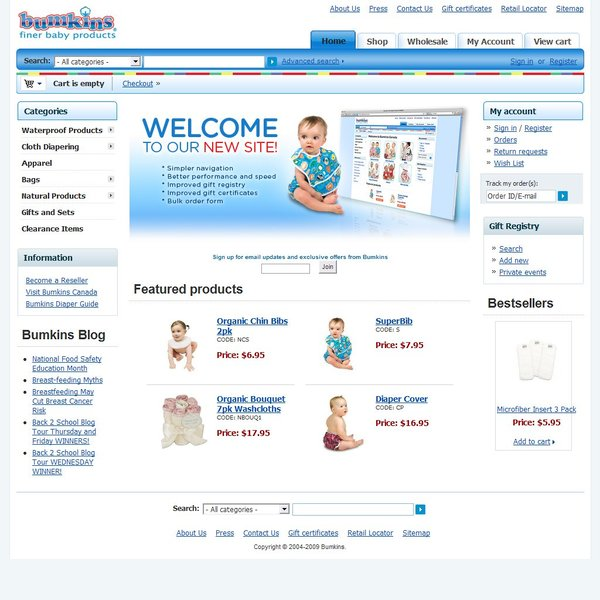 Screenshot of www.bumkins.com
