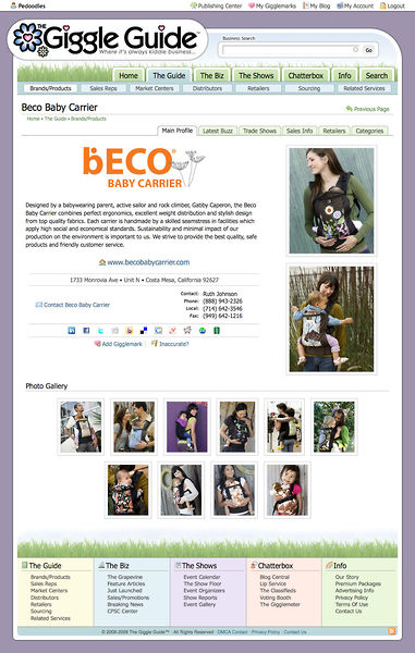 Front page of Beco Baby's profile on The Giggle Guide™