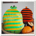 Citrus stripe hats in bamboo velour - one of a kind with gros grain ribbon detail for babies 0-9 mos!