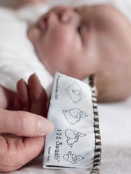 Swaddling is as easy as 1-2-3! SwaddleDesigns exclusive tip tag is sewn to the edge of every SwaddleDesigns blanket.