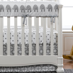 Gender Neutral Gray Elephant Crib Bedding. All Cotton, Made in USA by Liz and Roo.