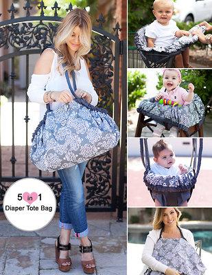Baby Bella Maya's 5 in 1 Diaper Tote Bag in Royal Mist