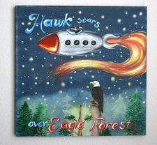 """""""Hawk Soars Over Eagle Forest"""" 18x18x3 /4"""" ( perfect to frame) Acrylic on canvas"""