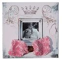 Princess - 12x12 pink frame with brown undertones and 4x4 opening, pink rosett ribbon and crystals