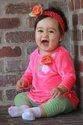 Candy Striper - FL1303 Fluorescent Pink Velvet Swing Top with Lime Green Pinstripe Legging.